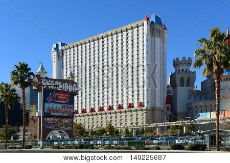LAS VEGAS - DEC 25: Excalibur Hotel and Casino on Las Vegas Strip on Dec. 25, 2016 in Las Vegas, Nevada, USA. The Medieval theme of the hotel is named after the mythical sword of King Arthur.