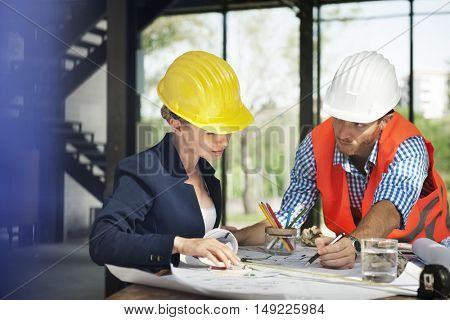 Architect Engineer Discussion Brainstorming Construction Concept