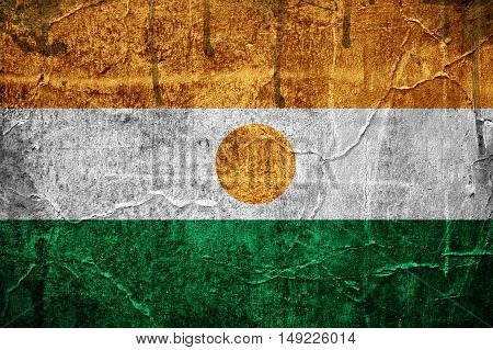 Flag of Niger overlaid with grunge texture