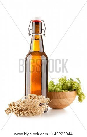 Beer bottle on white background