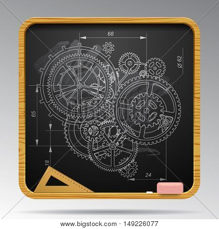 Square blackboard with chalk drawing of gear wheels. Design and engineering concept vector illustration