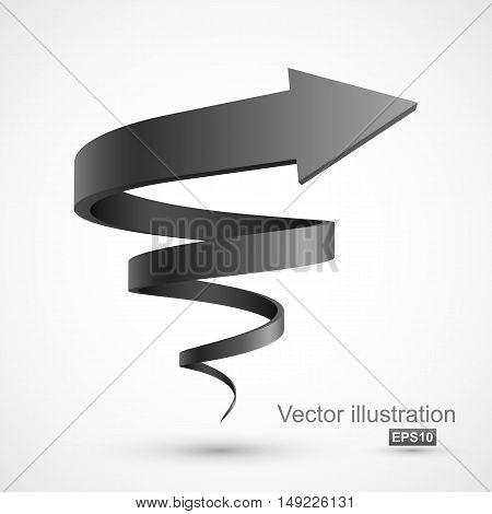 Black spiral arrow. Vector Illustration EPS 10