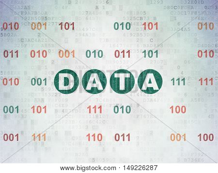 Data concept: Painted green text Data on Digital Data Paper background with Binary Code
