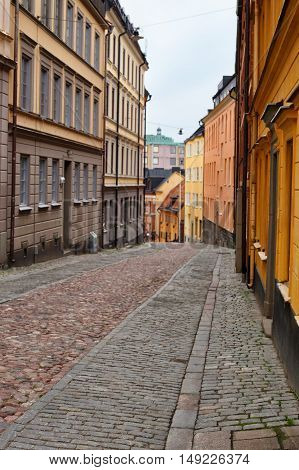 Narrow Street in Old Town Gamla Stan of Stockholm Sweden