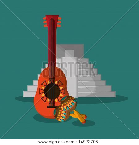 guitarron with mexican culture related icons image vector illustration
