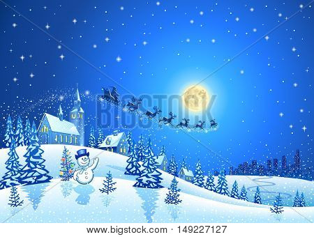 Christmas Winter Landscape with Santa Sleigh