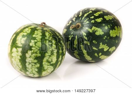 two watermelon isolated on white background closeup.