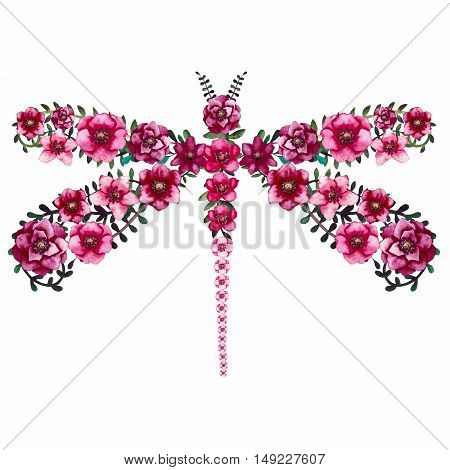 Watercolor Floral Dragonfly with Little Bright Burgundy Flowers