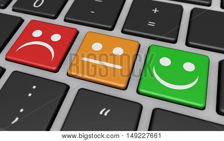 Business quality customer experience feedback rating and survey keys with symbols and icons on computer keyboard 3D illustration.