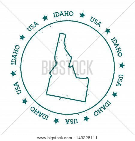 Idaho Vector Map. Retro Vintage Insignia With Us State Map. Distressed Visa Stamp With Idaho Text Wr