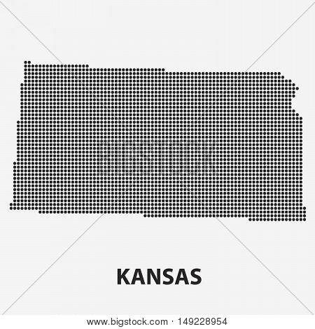 Dotted map of the State Kansas. The form with black points on light background. Vector illustration.
