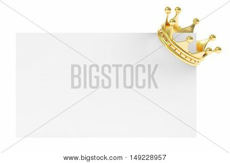 Golden Crown on Blank Card 3D rendering isolated on white background
