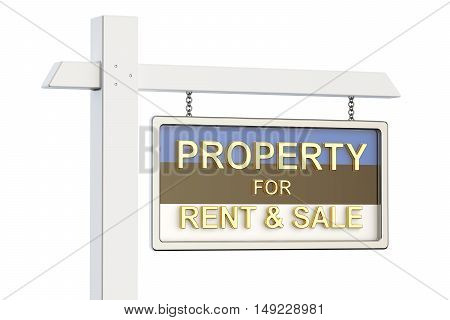 Property for sale and rent in Estonia concept. Real Estate Sign 3D rendering isolated on white background