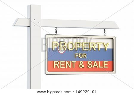 Property for sale and rent in Slovenia concept. Real Estate Sign 3D rendering isolated on white background