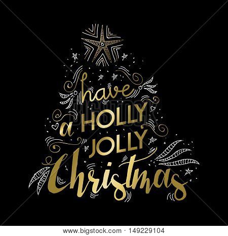 Merry Christmas Gold Greeting Card Doodle Design
