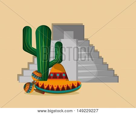 aztec pyramid with mexican culture related icons image vector illustration