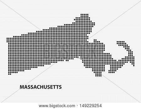 Dotted map of the State Massachusetts. The form with black points on light background. Vector illustration.