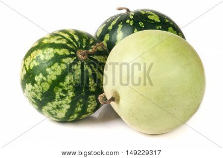 three watermelon isolated on white background closeup.