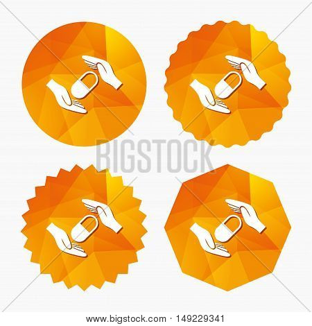 Medical insurance sign icon. Hand holds pill drugs. Health Insurance. Triangular low poly buttons with flat icon. Vector
