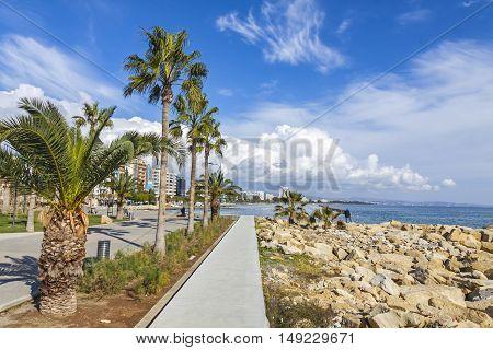 Promenade Alley At Molos Park In Center Of Limassol, Cyprus