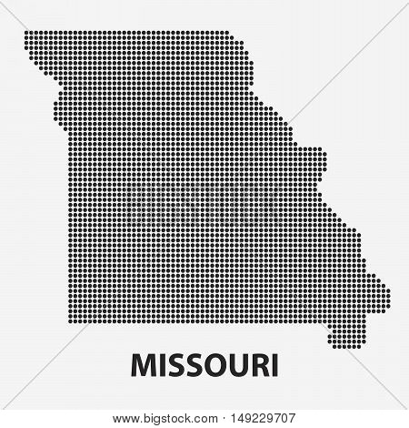 Dotted map of the State Missouri. The form with black points on light background. Vector illustration.