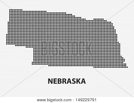 Dotted map of the State Nebraska. The form with black points on light background. Vector illustration.