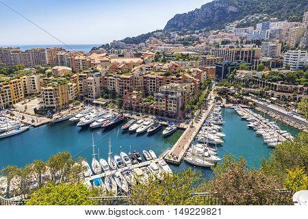 Panoramic View Of Port De Fontvieille, Principality Of Monaco