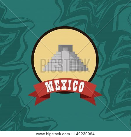 aztec pyramid with mexican culture emblem image vector illustration