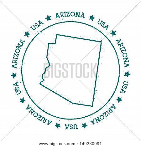 Arizona Vector Map. Retro Vintage Insignia With Us State Map. Distressed Visa Stamp With Arizona Tex