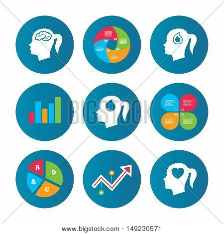 Business pie chart. Growth curve. Presentation buttons. Head with brain icon. Female woman think symbols. Blood drop donation signs. Love heart. Data analysis. Vector