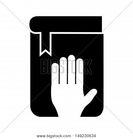 human hand and bible in oath icon vector illustration design