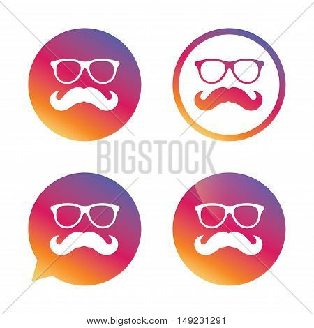 Mustache and Glasses sign icon. Hipster symbol. Gradient buttons with flat icon. Speech bubble sign. Vector