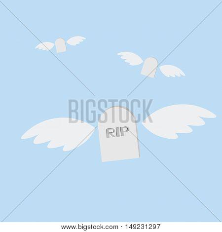 Grave Rip Angel Icon Of Vector Esp 10