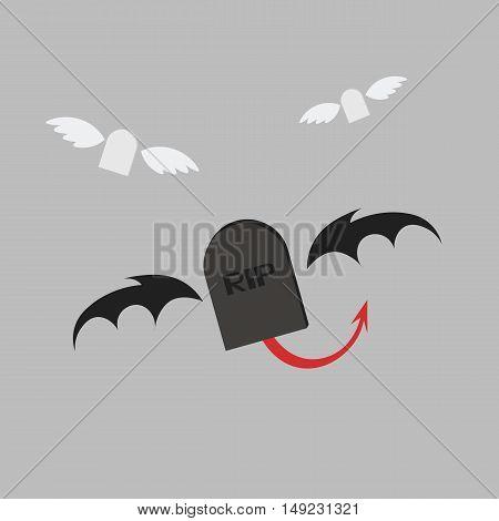 Grave Rip Devil  Icon Of Vector Esp 10