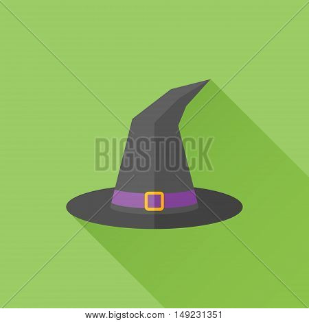 Tall witch hat flat icon with long shadow on green background. Vector illustration.