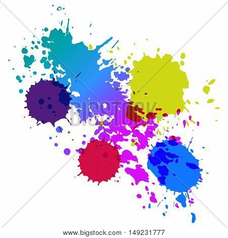Colorful watercolor splashes of paint on a white background. Vector ink drops.