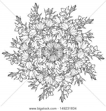 Circle pattern with bellflowers. Round kaleidoscope of flowers and floral elements. Wreath. Design card.