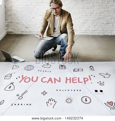 You Can Help Donations Charity Support Concept