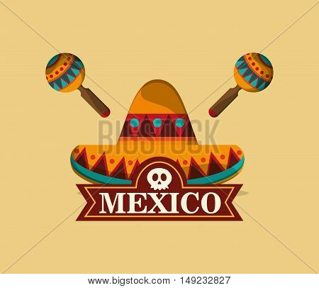sombrero with mexican culture emblem image vector illustration