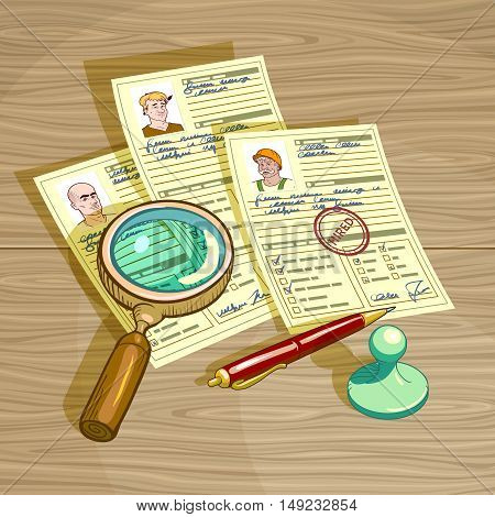 Human resources management design with personal cards magnifier pen and stamp hired on wooden background vector illustration