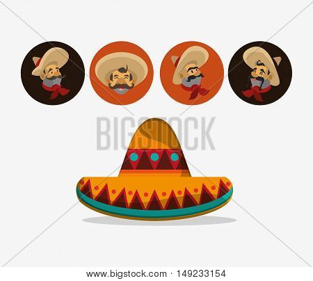 sombrero with mariachis mexican culture related icons image vector illustration