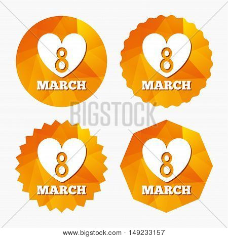 8 March Women's Day sign icon. Heart symbol. Triangular low poly buttons with flat icon. Vector