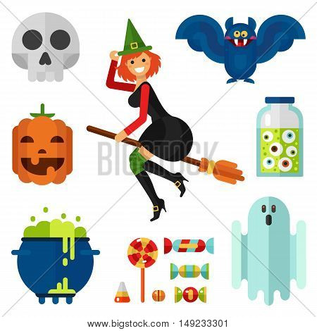Flat design vector icons set of Halloween. Pumpkin, beautiful smiling witch on broom in hat, candy and lollipop, ghost, bottle with eyes, pot with boiling magic potion, skull and vampire bat.