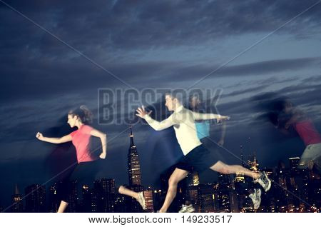 Running Rooftop Jumping High Exercise Concept