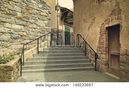 stairway and pathway at beautiful old vintage home in the city