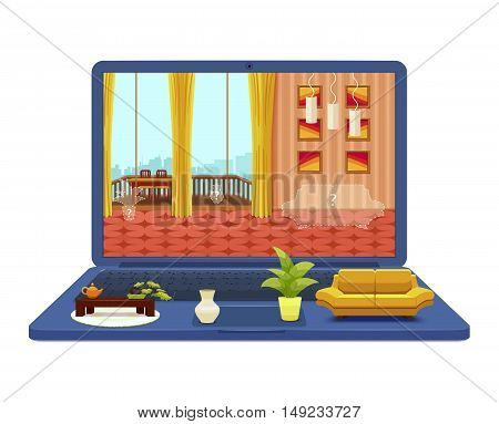 Room interior project on laptop design with lounge at screen and furniture objects on keyboard vector illustration