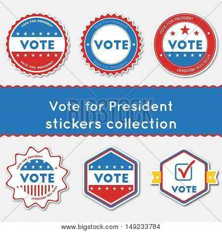 Vote For President Stickers Collection. Buttons Set For Usa Presidential Elections 2016. Collection