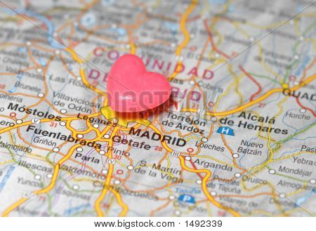 Pushpin Over Madrid Map