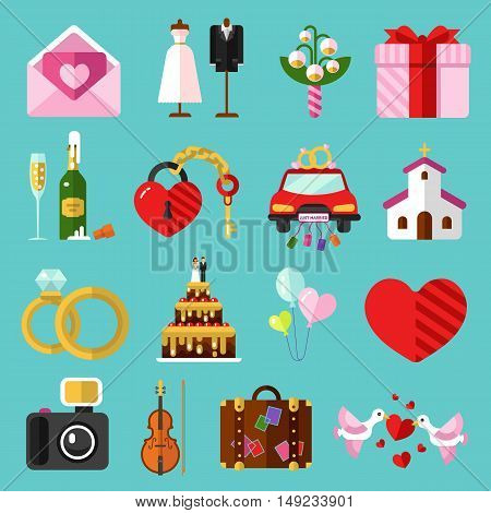 Flat design vector icons set of wedding or marriage. Invitation, bridal bouquet, rings, champagne, bride, groom, cake, gift box, lock and key, birds, car, music, church, heart, camera, baggage.