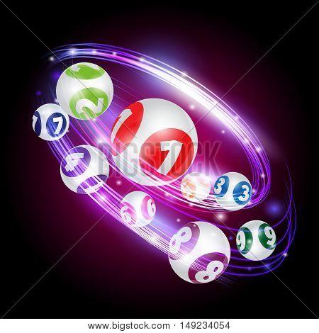 Vector set of lottery balls. Bingo lotto numbers.